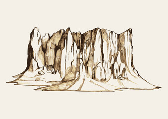 Sketch illustration of a rocky mountain