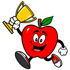 Apple Running with Trophy