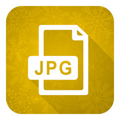 jpg file flat icon, gold christmas button