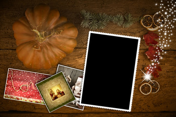Christmas greeting card one empty photo frame