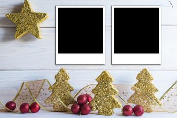 Fondo de Navidad con decoración vintage y espacio para fotos