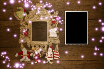 Christmas cards, vintage empty photo frame