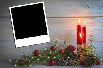 Fondo de Navidad con espacio para foto o texto y velas
