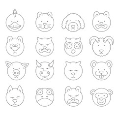 pet icons  mono vector symbols