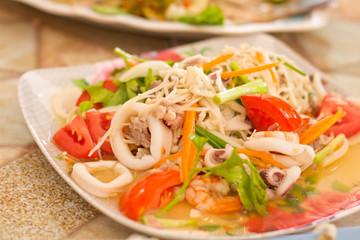 Seafood salad on a plate