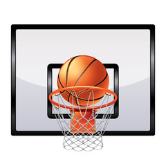 Basketball ring isolated on white vector