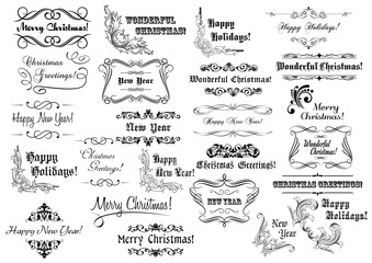Christmas calligraphic lettering and headers set