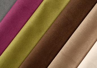 Six textile materials variety shades of colors horizontal