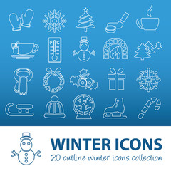 winter outline icons