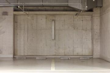 Parking garage underground interior, neon lights in dark