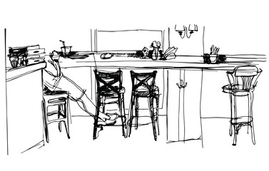 sketch of the interior cafe