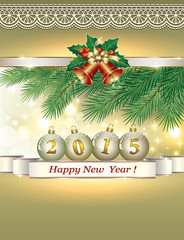 Christmas greeting card with the New Year 2015