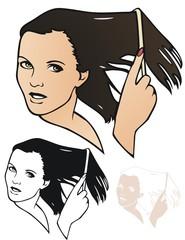 Model combing her hair