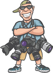 funny cartoon character - happy photographer with lots of camera