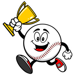 Baseball Running with Trophy