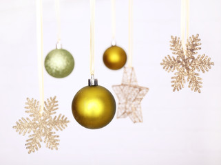 Beautiful green Christmas decorations hanging