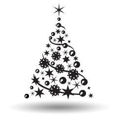 Christmas tree isolated. Abstract design logo. Logotypeof tree
