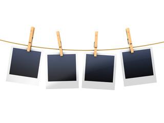 photo frames on clothesline