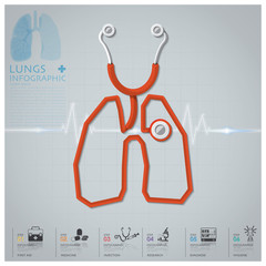 Lungs Shape Stethoscope Health And Medical Infographic