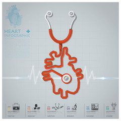 Heart Shape Stethoscope Health And Medical Infographic