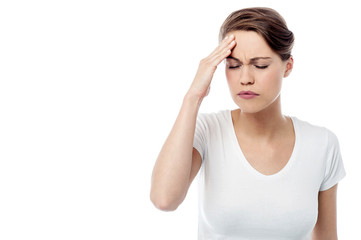 Woman has a migraine