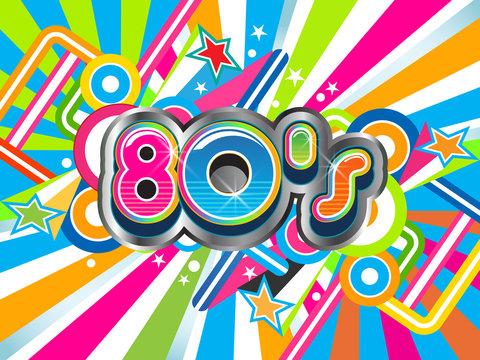 80s Party illustration logo background