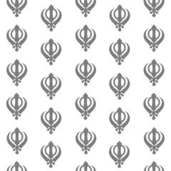 Sikh Symbol Seamless Pattern Grey