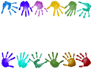 Conceptual children painted hand print frame isolated