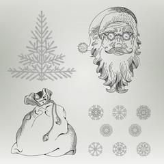 Christmas elements Santa Claus Spruce Snowflake Bag