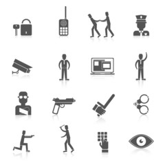 Security guard black icons