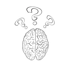 Brain with question mark