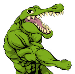 Alligator or crocodile mascot punching