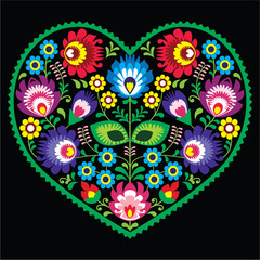 Polish folk art art heart with flowers - Wycinanki on black