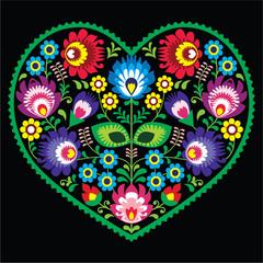 Polish folk art art heart with flowers - Wycinanki on black - fototapety na wymiar