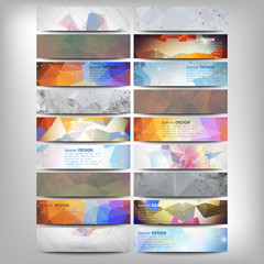 Big colored abstract banners set. Conceptual triangle design