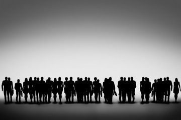 Group of business people silhouettes looking ahead together