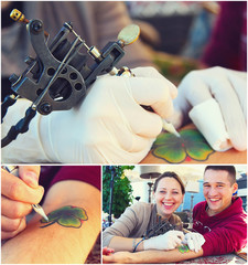 Collage of fotos tattooer showing process of making a tattoo