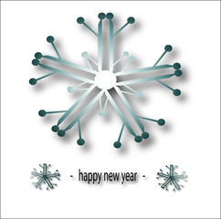 happy new year christmas card with snow on white background