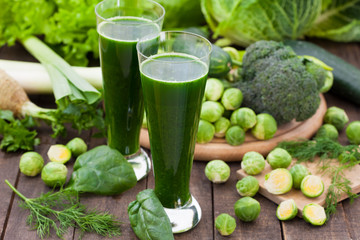 Green smoothie with different vegetables