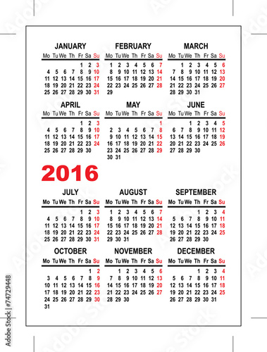 Pocket Calendar 2016 Template Stock Image And Royalty Free Vector