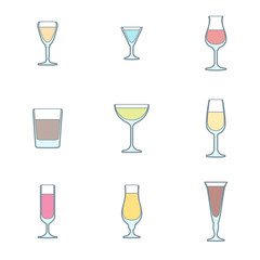 vector colored outline alcohol glasses icon set