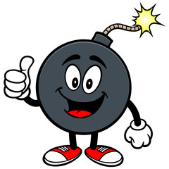 Bomb Mascot with Thumbs Up