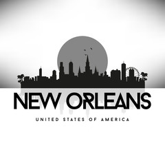 New Orleans USA Skyline Silhouette Black vector