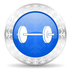 fitness blue icon, christmas button