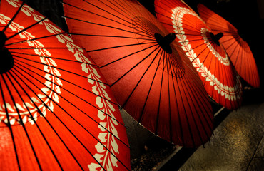 Photo sur Toile Japon Red parasols