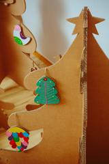 Christmas Tree Made Of Cardboard. New Year