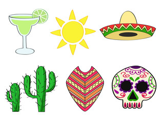 a set of traditional symbols of Mexico