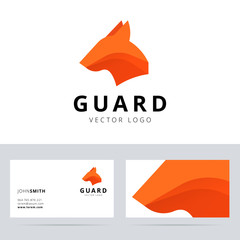 Guard logo template with dog head sign. Vector illustration.