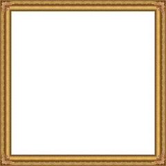 Golden Picture frame isolated white background