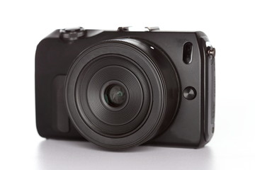 Systemkamera in schwarz